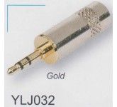 "AMPERO YLJ032 1/8"" STEREO GOLD разъём ""mini-Jack"" стерео, ""папа"", позолоченные контакты."