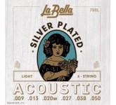 La Bella 700L Light (009 013 020W 027 038 050) SILVER PLATED струны для акустической гитары, 1 и 2 с