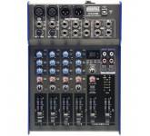 NORDFOLK NX602UD компактн микш пульт, 2 микр, 2 лин, 2 стер, DSP, USB, фант 48В, 3 пол экв, наушн 67