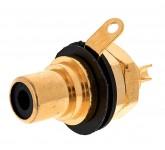 REAN NYS 367-0 панельный разъем RCA с цветными изоляторами (чёрный), золоченые контакты.